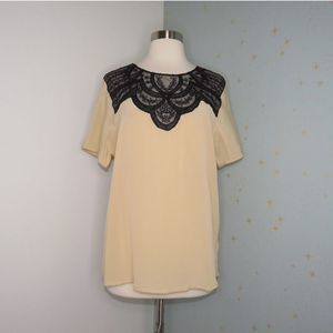 Anthro Lil | Tan Lace Front Top